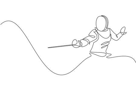 Single continuous line drawing of young professional fencer athlete woman in fencing mask and rapier. Competitive fighting sport competition concept. Trendy one line draw design vector illustration