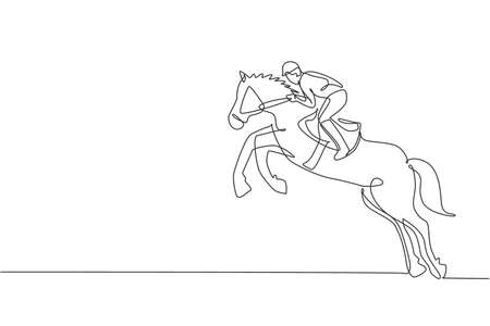 One continuous line drawing of young horse rider man in action. Train equine to jump at racing track. Equestrian sport competition concept. Dynamic single line draw design graphic vector illustration