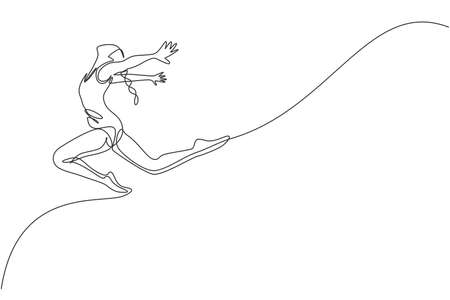 One single line drawing of young beauty gymnast girl exercise floor rhythmic gymnastic at gym vector illustration. Healthy athlete teen lifestyle and sport concept. Modern continuous line draw design