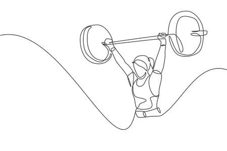 One single line drawing of fit young athlete muscular woman lifting barbells working out at a gym vector illustration. Weightlifter preparing for training concept. Modern continuous line draw design