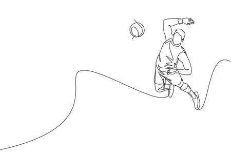 One continuous line drawing of young male professional volleyball player in action jumping smash on court. Healthy competitive team sport concept. Dynamic single line draw design vector illustration