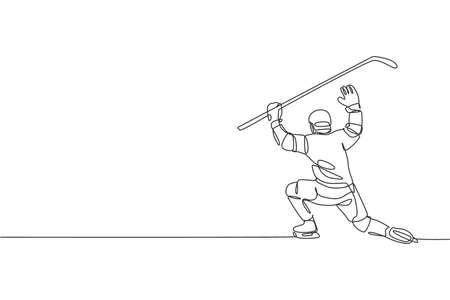 Single continuous line drawing of young professional ice hockey goalie block the puck shot and defense on ice rink arena. Extreme winter sport concept. Trendy one line draw design vector illustration