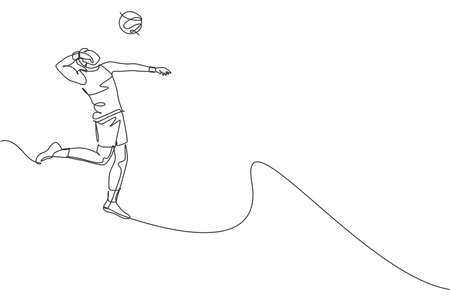 Single continuous line drawing of male young volleyball athlete player in action jumping spike on court. Team sport concept. Competition game. Trendy one line draw design vector graphic illustration Vettoriali