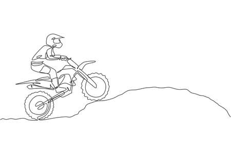 One continuous line drawing of young motocross rider climb mound of land at race track. Extreme sport concept. Dynamic single line draw design vector illustration for motocross competition poster