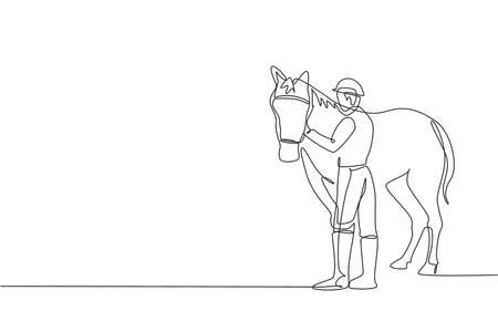 One continuous line drawing of young horse rider man rubbing and stroking horsehair. Equine pet care. Equestrian sport competition concept. Dynamic single line draw design vector graphic illustration