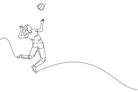 One single line drawing of young male professional volleyball player exercising jumping serve on court vector illustration. Team sport concept. Tournament event. Modern continuous line draw design