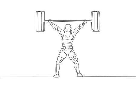 One single line drawing of fit young athlete muscular man lifting barbells working out at a gym vector illustration. Weightlifter preparing for training concept. Modern continuous line draw design