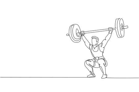 Single continuous line drawing of young strong weightlifter man preparing for barbell workout in gym. Weight lifting training concept. Trendy one line draw design vector graphic illustration