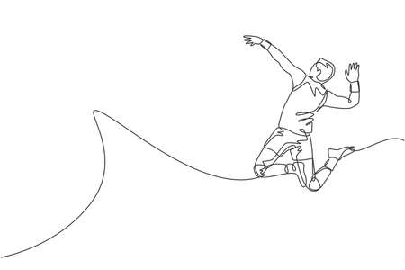 One single line drawing of young male professional volleyball player exercising jumping spike on court vector illustration. Team sport concept. Tournament event. Modern continuous line draw design Vettoriali