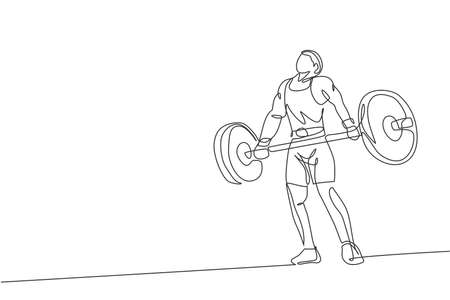 One continuous line drawing of young bodybuilder man doing exercise with a heavy weight bar in gym. Powerlifter train weightlifting concept. Dynamic single line draw design vector graphic illustration