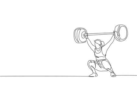 One single line drawing of fit young athlete muscular woman lifting barbells working out at a gym vector illustration. Weightlifter preparing for training concept. Modern continuous line draw design Vector Illustration