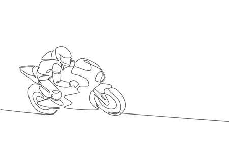 One continuous line drawing of young moto biker practicing to improve bike speed. Super bike racing concept vector illustration. Dynamic single line draw design for motorbike race promotion poster Vector Illustratie