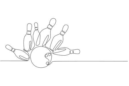 One single line drawing of bowling pins falling apart hit by bowling ball at alley lane graphic vector illustration. Leisure activity and game sport concept. Modern continuous line draw design