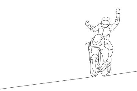 One single line drawing of young moto biker celebrate winning with raising his hands vector illustration. Superbike racing concept. Modern continuous line draw design for motor racer event banner