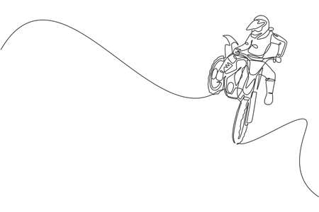 Single continuous line drawing of young motocross rider does dangerous acrobatic trick. Extreme sport race concept vector illustration. Trendy one line draw design for motocross event promotion media
