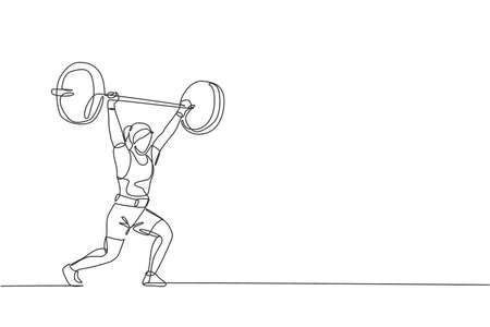 Single continuous line drawing of young strong weightlifter woman preparing for barbell workout in gym. Weight lifting training concept. Trendy one line draw design vector graphic illustration Ilustración de vector