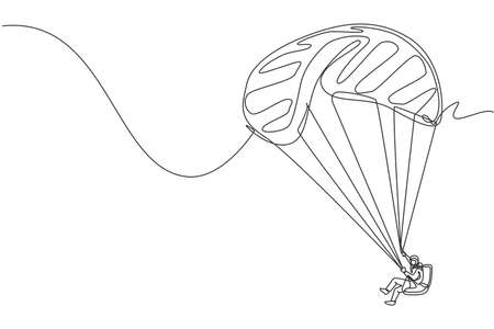 Single continuous line drawing of young tourist man flying with paragliding parachute on the sky. Extreme vacation holiday sport concept. Trendy one line draw design vector graphic illustration Vecteurs