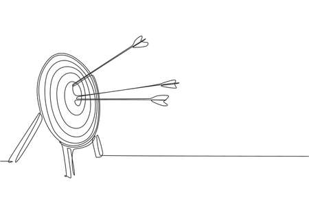 Single continuous line drawing of archery target pad was shot with arrows. Archery sport exercise with target board concept. Trendy one line draw design vector illustration graphic