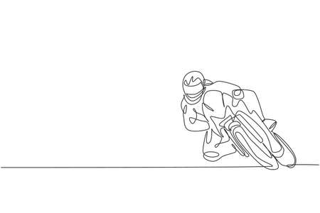 Single continuous line drawing of young superbike racer practice leaning at circuit track. Motogp tournament concept. Trendy one line draw design vector illustration for motorbike race promotion media