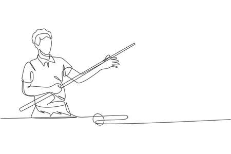 One single line drawing of young handsome man playing pool billiards at billiard room vector illustration graphic. Indoor sport recreational game concept. Modern continuous line draw design