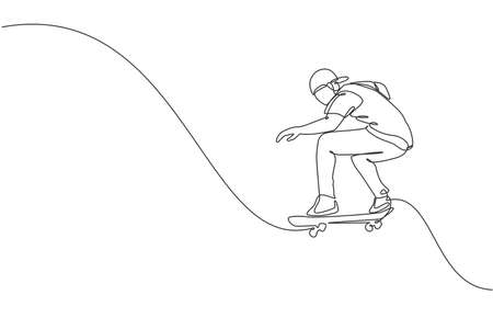 One continuous line drawing of young cool skateboarder man riding skateboard and doing a jump trick in skatepark. Extreme teenager sport concept. Dynamic single line draw design vector illustration