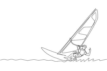 Single continuous line drawing of young sporty surfer man playing windsurfing in the sea. Extreme dangerous sea sport concept. Summer holiday vacation. Trendy one line draw design vector illustration