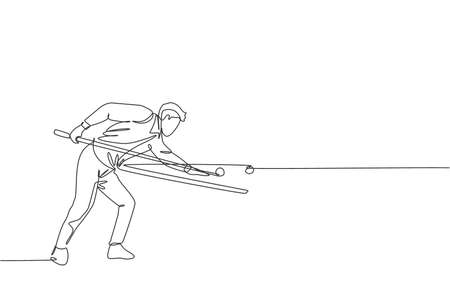One single line drawing of young handsome man playing pool billiards at billiard room graphic vector illustration. Indoor sport recreational game concept. Modern continuous line draw design Vector Illustratie