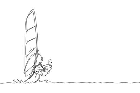 One continuous line drawing of young energetic man fun play windsurfing in the sea ocean. Healthy lifestyle sport concept. Happy tourist vacation. Dynamic single line draw design vector illustration