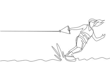 One single line drawing of young sporty man play wakeboarding in the sea beach vector illustration. Healthy lifestyle and extreme sport concept. Summer vacation. Modern continuous line draw design Vector Illustration