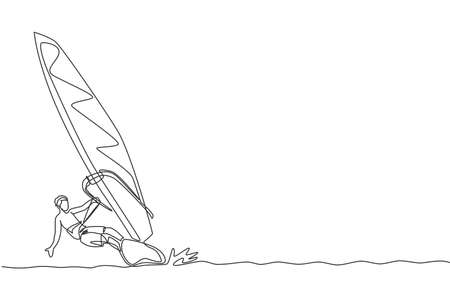 One single line drawing young sporty man play windsurfing in the sea beach vector graphic illustration. Healthy lifestyle and extreme sport concept. Summer vacation. Modern continuous line draw design