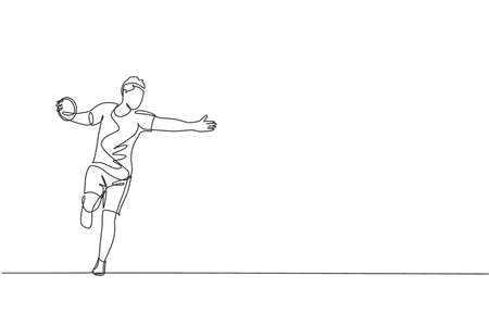 One continuous line drawing of young sporty man exercise to focus while swinging discus on the field. Athletic games.  Sport concept. Dynamic single line draw graphic design vector illustration