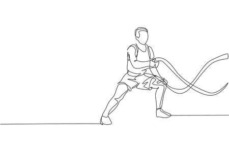 One single line drawing of young energetic man exercise on battle rope to train endurance in gym fitness center vector illustration. Healthy lifestyle sport concept. Modern continuous line draw design