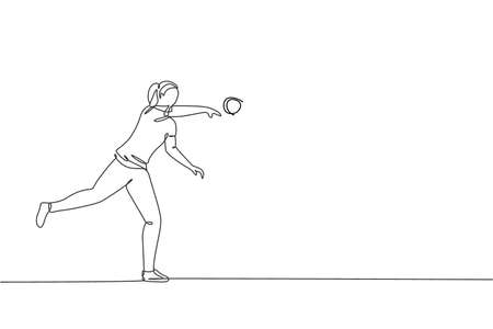 Single continuous line drawing of young sportive woman practice to powerfully throw shot put on the court stadium. Athletic games sport concept. Trendy one line draw design vector graphic illustration Vettoriali