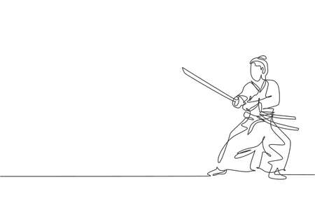 Single continuous line drawing of young strong samurai warrior wearing traditional uniform holding sword at festival. Ancient fighter soldier concept. Trendy one line draw design vector illustration Ilustração Vetorial