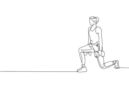 Single continuous line drawing young sportive woman training with lifting dumbbell in sport gymnasium club center. Fitness stretching concept. Trendy one line draw graphic design vector illustration Illustration