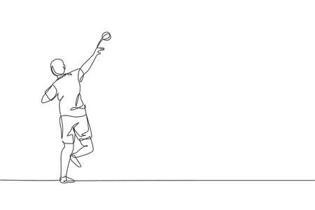 Single continuous line drawing of young sportive man practice to throw shot put powerfully on the court stadium. Athletic games sport concept. Trendy one line draw design graphic vector illustration