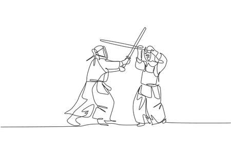One single line drawing of two young energetic man exercise kendo combat match with wooden sword at gym center vector illustration. Combative fight sport concept. Modern continuous line draw design