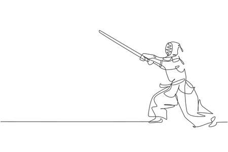 One single line drawing young energetic man exercise attack kendo skill with wooden sword at gym center graphic vector illustration. Combative fight sport concept. Modern continuous line draw design