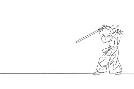 One single line drawing young energetic man exercise defense kendo move with wooden sword at gym center graphic vector illustration. Combative fight sport concept. Modern continuous line draw design
