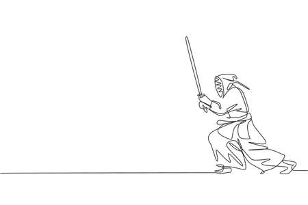 One continuous line drawing of young sporty man training kendo attack fighting skill in dojo center. Healthy martial art sport concept. Dynamic single line draw design graphic vector illustration