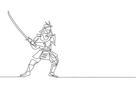 Single continuous line drawing of young strong samurai shogun wearing traditional uniform holding sword at festival. Ancient fighter soldier concept. Trendy one line draw design vector illustration Vektorové ilustrace