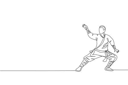 Single continuous line drawing young muscular shaolin monk man train martial art at shaolin temple. Traditional Chinese kung fu fight concept. Trendy one line draw design graphic vector illustration