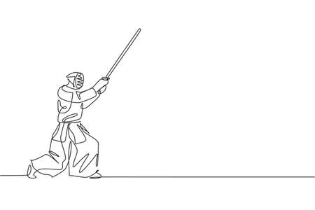 Single continuous line drawing of young sportive man practicing kendo blocking attack martial art skill on gym sport center. Fighting sport concept. Trendy one line draw design vector illustration