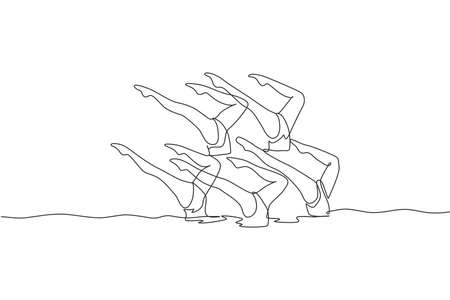 One continuous line drawing of young sporty women synchronized swimmer perform beauty leg movement in the water pool. Healthy fitness sport concept. Dynamic single line draw design vector illustration
