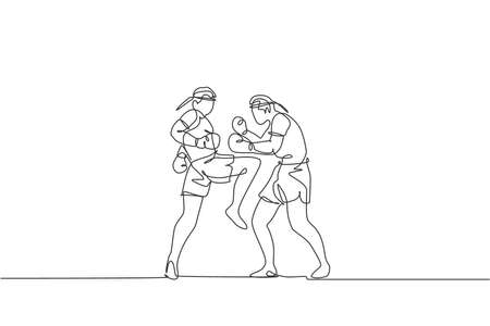 One continuous line drawing two young sporty muay thai boxer men preparing to fight sparring at boxing arena. Fighting sport game concept. Dynamic single line draw design graphic vector illustration