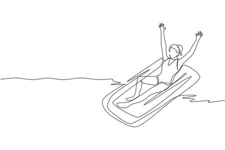 One single line drawing young fit happy woman relaxing at air mattress in indoor pool sport center vector illustration graphic. Summer holidays and vacation concept Modern continuous line draw design Stock Illustratie