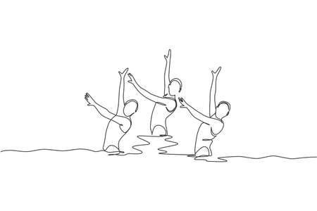 One continuous line drawing of young sporty women synchronized swimmer perform beauty movement in the water pool. Healthy fitness sport concept. Dynamic single line draw design vector illustration