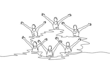 One single line drawing of young beauty women swimmer performing synchronized routine of elaborate moves in the water vector illustration. Team water sport event concept. Modern continuous line draw