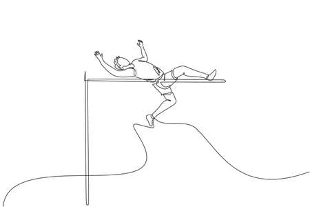 One single line drawing of young energetic man success to pass the bar on high jump match vector illustration. Healthy athletic sport concept. Competition event. Modern continuous line draw design 矢量图像