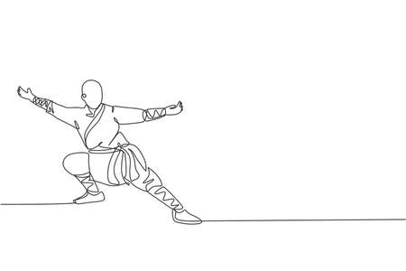 One continuous line drawing of young shaolin monk man practice kung fu style at temple ground . Traditional Chinese combative sport concept. Dynamic single line draw design vector graphic illustration